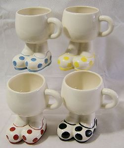 Carlton Ware Lustre Pottery Walking Ware Big Foot Large Spots Cups x- 4 - 1980s